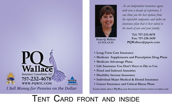 P Q Wallace Insurance Consultants Business Card