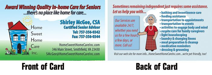 Home Sweet Home Care inc. Business Card